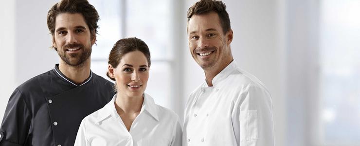 Kleding voor keuken, zaalpersoneel, bediening, traiteurs, bakkers, slagers, ...